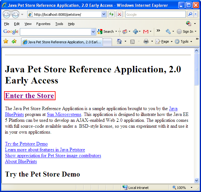 Java Pet Store Seen In Internet Browser