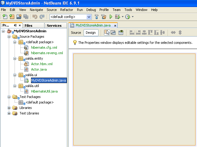 Creating the Java Swing application GUI which contains