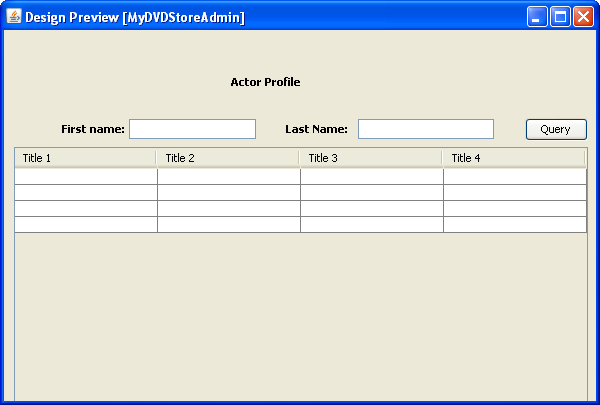Creating the java swing application gui which contains for Design table java swing