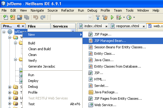 Creating a Java JSF managed bean and constructor using the