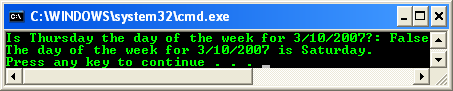 C++ .Net formatting - code example that demonstrates the DateTime.DayOfWeek property