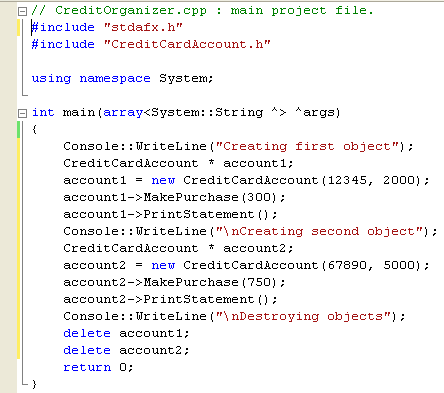 C++ .Net unmanaged class programming - creating or instantiating and using several CreditCardAccount objects in the main program