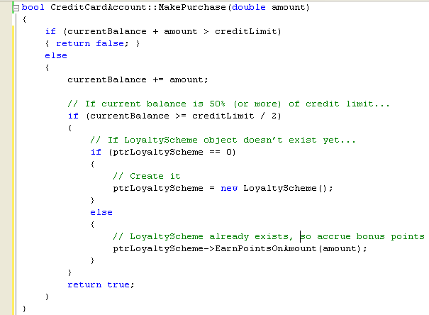 C++ .Net unmanaged class programming - Modifying the MakePurchase function source code