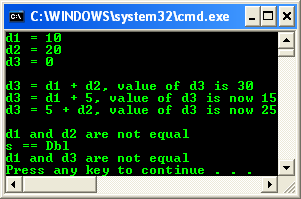 Equality console program output example