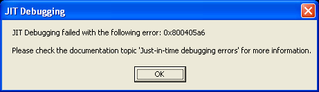 JIT Debuggingfailed message box