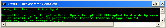 Exception handling - the unhandled exception in a C++ .NET program seen in console output window