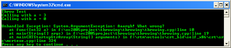The unhandled exception generated in the C++ .NET program seen through the Console Window