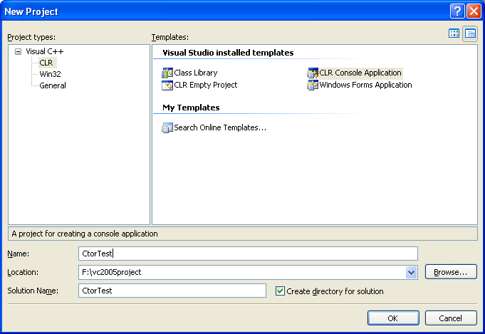 Creating new CLR Console Application C++ .NET project