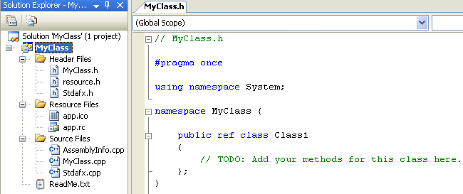 A namespace named MyClass, containing a single class named Class1
