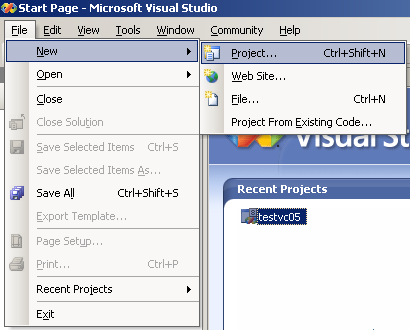 Invoking the new project page of the Visual Studio 2005 Standard Edition