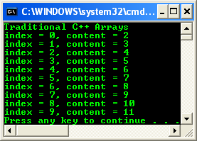 C++ array index and its content displayed in the console output