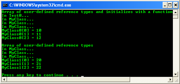 Reference type array console program output sample