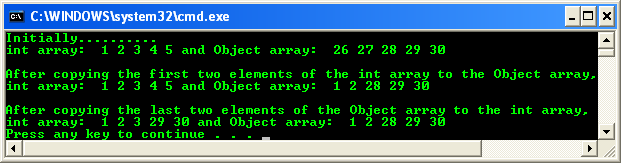 A code example that shows how Array::Copy copies elements between an array of type integer and an array of type Object