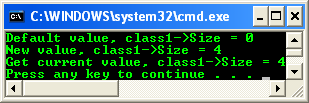 A program example - a scalar property (Size) is added to the MyClass declaration. The property is then implicitly set and retrieved using the get_Size and set_Size functions