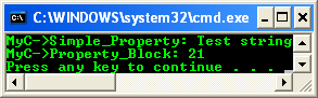 A program example that shows the declaration and use of a property data member and a property block. It also shows that a property accessor can be defined out of class