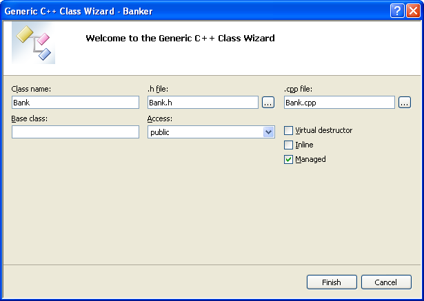 Entering the information for the new Generic C++ Class using the Class Wizard