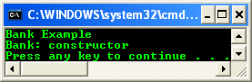A constructor message being printed on the console program output