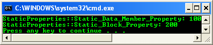 A program example that shows how to declare and use a static property. A static property can only access static members of its class