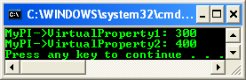 A program example that shows how to declare and use virtual properties