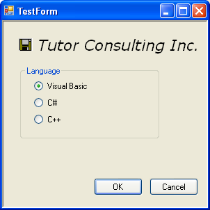 Windows Form with buttons, label, radio button, groupbox and visualcplusdotnetchap21 controls in action