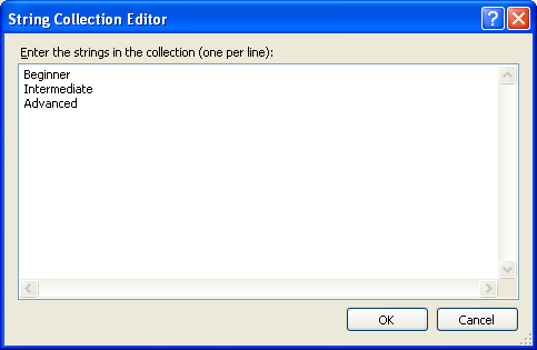 ComboBox String Collection Editor dialog box - Adding strings