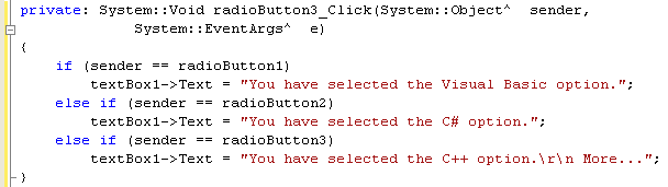 Adding the radio button click event handler source code