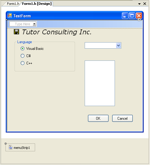Adding MenuStrip contol to the Windows Form