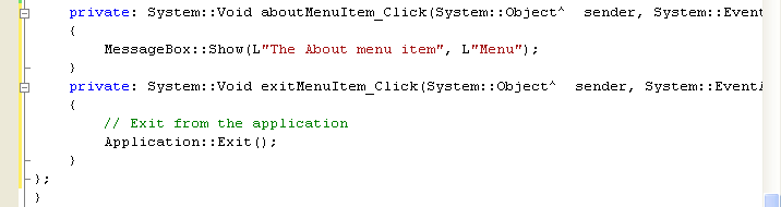 Adding source codes for the menu items click events