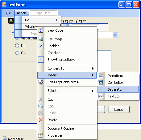 Inserting Separator to the menu items