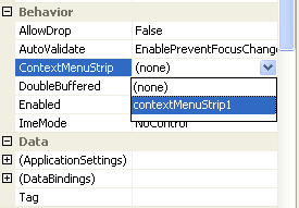 Assigning the context menu to the ContextMenuStrip property of the Windows form