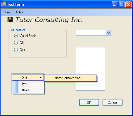 Windows Form with context menu in action