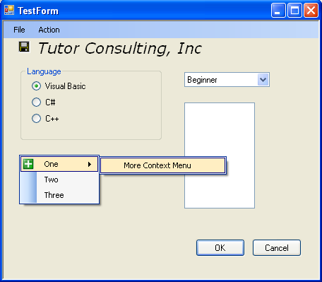 Context menu item with visualcplusdotnetchap21 in action