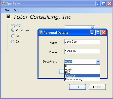 Visual C++ 2005 WinForm example