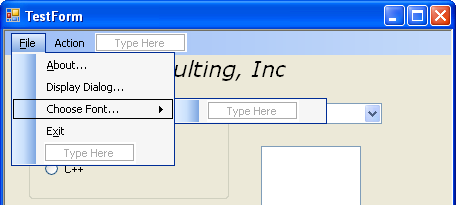 Adding a new item to the File menu with the Text Choose Font...