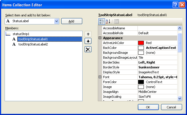 A tutorial on how to use StatusStrip from ToolStripItem  NET class