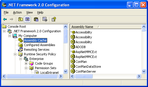 Net Framework 2.0 Configuration snap-in