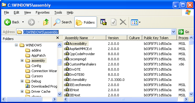 The Assembly folder that contains assemblies