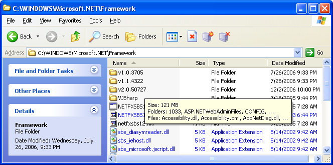 The .Net Framework folder. Notice the .Net versions, 1.0.x, 1.1.x and 2.0.x