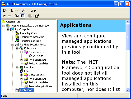.NET 2.0 Framework snap-in