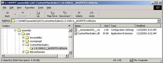 The global assembly cache shown with the namespace extension disabled