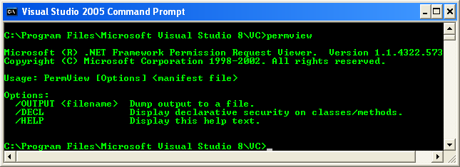 Running the permview tool at command prompt