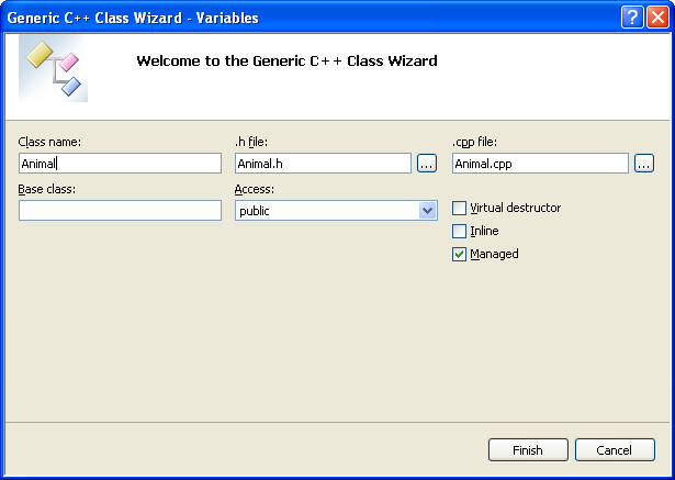 Generic C++ .Net class wizard page - entering class information