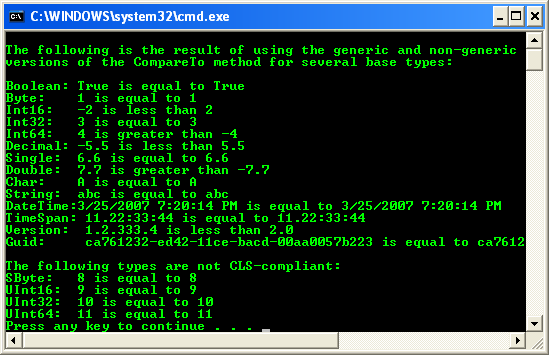 C++ .Net CompareTo() method for several base types - Boolean, Byte, Int16, Int32, Int64, Double, Decimal, Char etc.