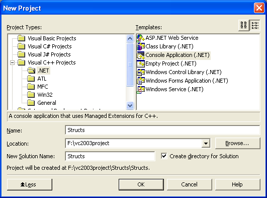 The new project window, selecting Console Application (.NET)