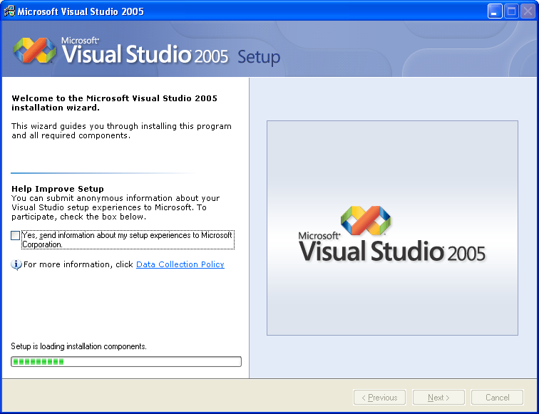Installing Visual Studio 2005 Standard Edition - Wizard page 1