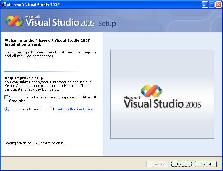 Installing Visual Studio 2005 Standard Edition - Wizard page 2