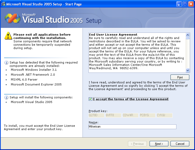 Installing Visual Studio 2005 Standard Edition - Wizard page 3