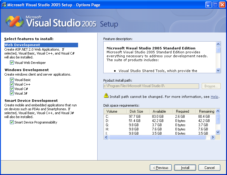Installing Visual Studio 2005 Standard Edition - Wizard page 4 selecting features or components to be installed