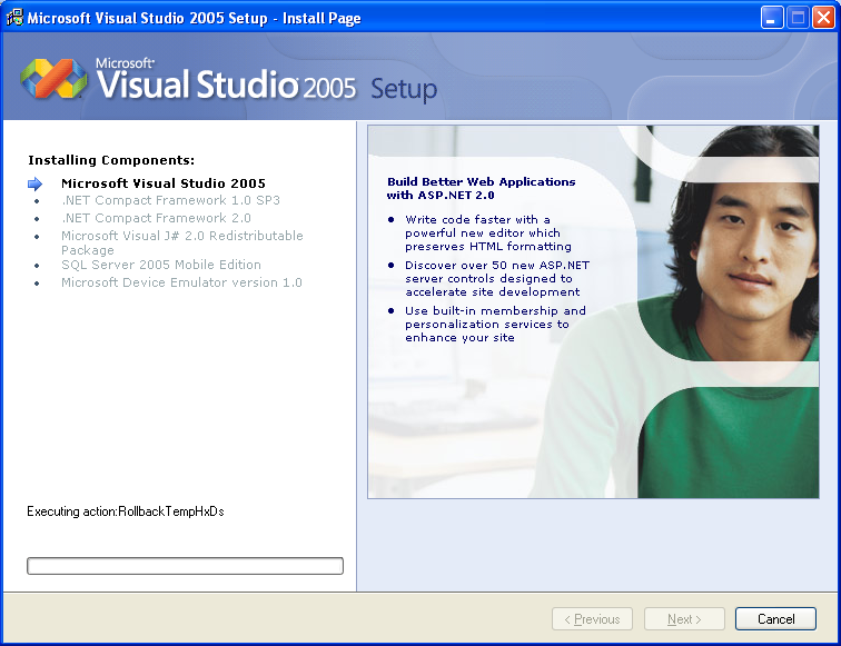 Installing Visual Studio 2005 Standard Edition - Wizard page 9