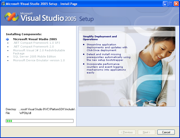 Installing Visual Studio 2005 Standard Edition - Wizard page 10